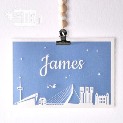 Letterpress geboortekaartje Rotterdam James