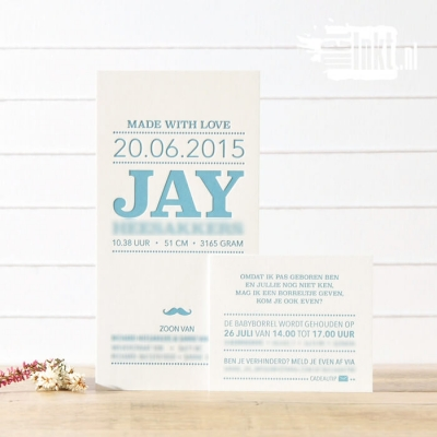 Letterpress geboortekaartje typografie snor Jay