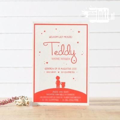 Letterpress geboortekaartje Teddybeer