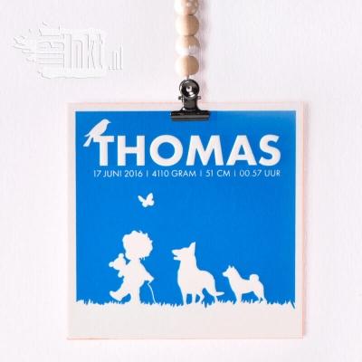 Letterpress geboortekaartje jongen met honden