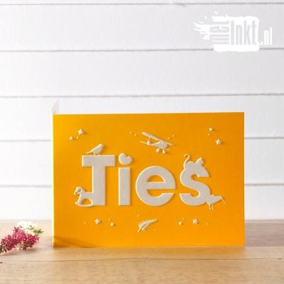Letterpress geboortekaartje Diertjes