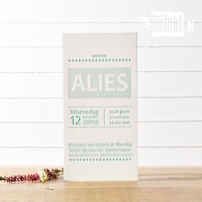 Letterpress geboortekaartje Strak