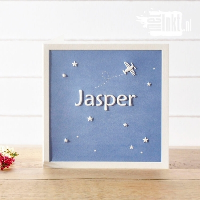 Letterpress geboortekaartje vliegtuigje Jasper