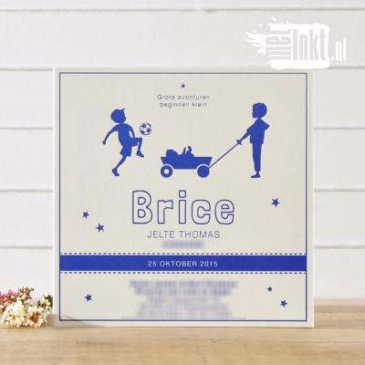 Letterpress geboortekaartje Broertjes Voetbal Brice