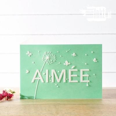 Letterpress geboortekaartje Pluisbloem Aimee