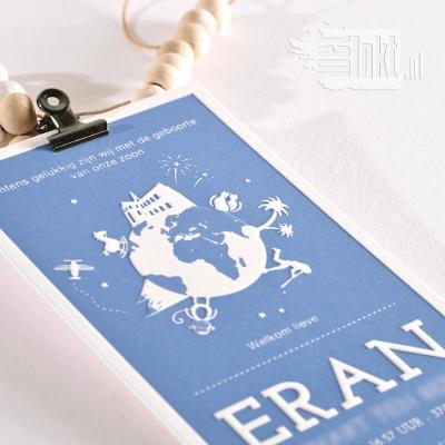 Letterpress geboortekaartje wereldbol Eran