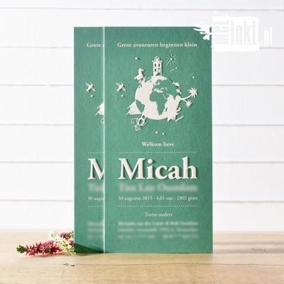Letterpress geboortekaartje wereldbol Micha