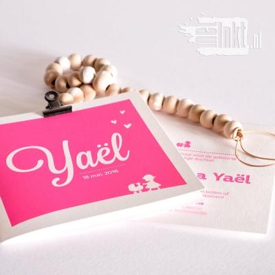 Letterpress geboortekaartje kinderwagen Yael
