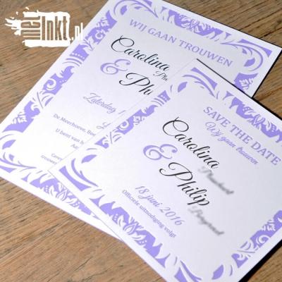 Letterpress trouwkaart Barok
