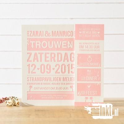 Letterpress trouwkaart stoer Roze