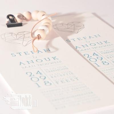 letterpress trouwkaart hart met zilverfolie