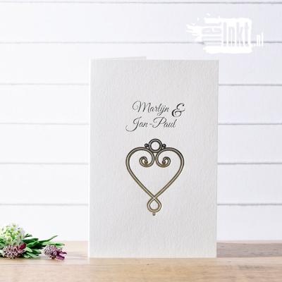 Letterpress trouwkaart folie Marlijn en Jean Paul