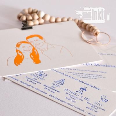Letterpress trouwkaart Portret folie