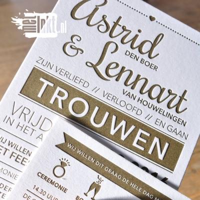 Letterpress trouwkaart met goudinkt