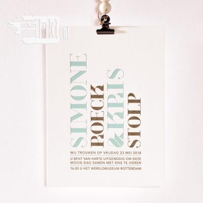 Letterpress trouwkaart magazine typografie