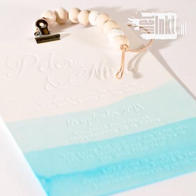 Letterpress trouwkaart aquarel
