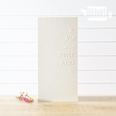 Letterpress trouwkaart met preeg