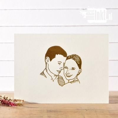 Letterpress trouwkaart Silhouet