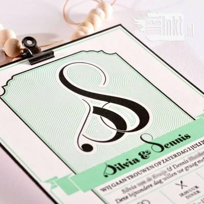 Letterpress trouwkaart Sylvia en Dennis