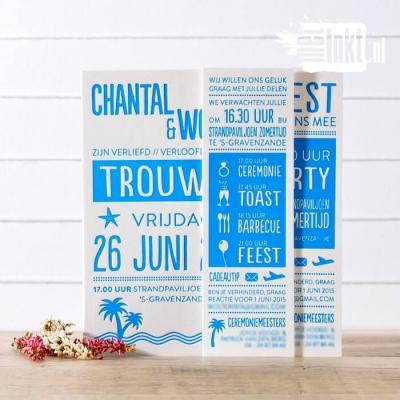 Letterpress trouwkaart Strand