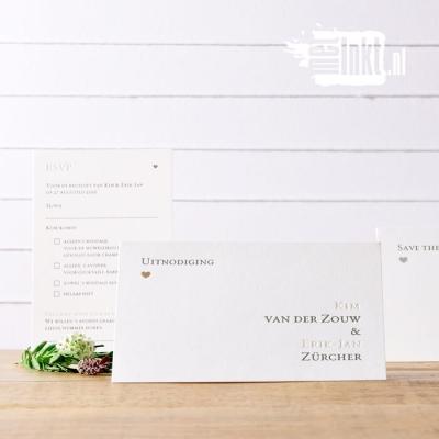 Letterpress trouwkaart typografie en folie