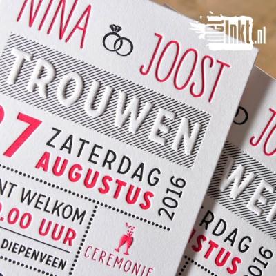 Letterpress trouwkaart typografisch Nina en Joost