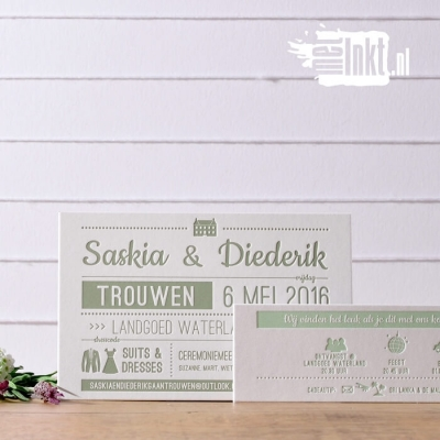 Letterpress trouwkaart typografie Saskia en Diederik
