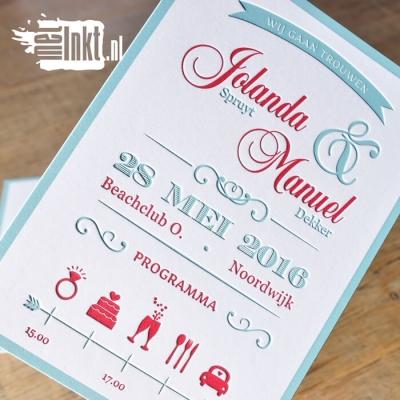 Letterpress trouwkaart vintage
