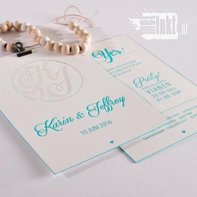 Letterpress trouwkaart logo zilver