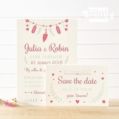 Letterpress trouwkaart Bohemian