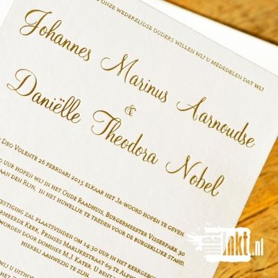 Letterpress trouwkaart Goudfolie