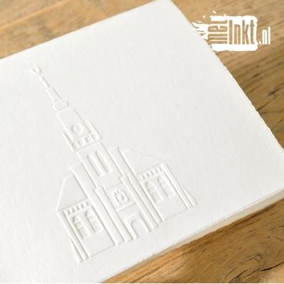 Trouwkaart letterpress kerk