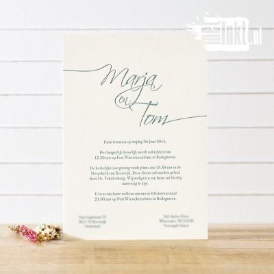 Letterpress trouwkaart Marja en Tom