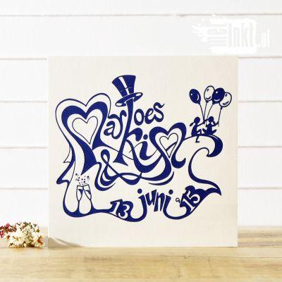 Letterpress trouwkaart Marloes en Kim