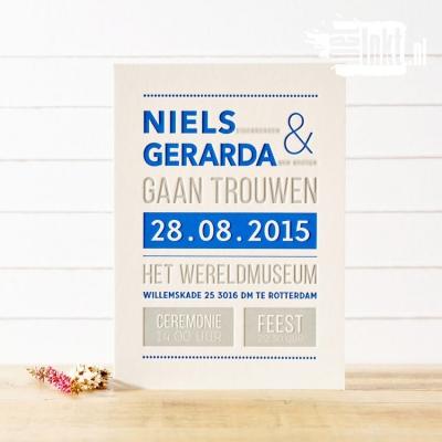 Letterpress trouwkaart Strak Niels en Gerarda