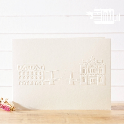 Letterpress trouwkaart Gebouwen