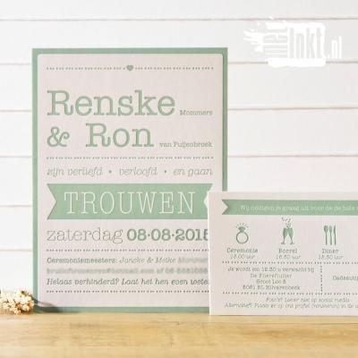 Letterpress trouwkaart Ron en Renkse