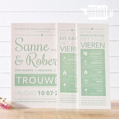 Letterpress trouwkaart Sanne en Robert