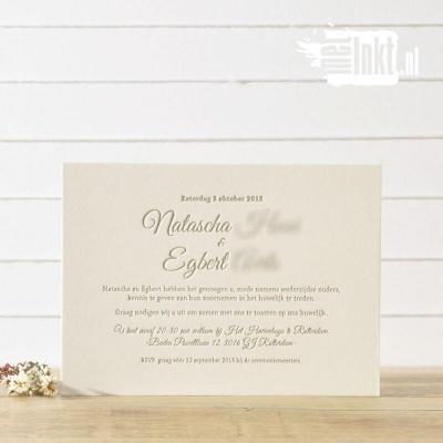 Letterpress trouwkaart strak Natascha en Egbert