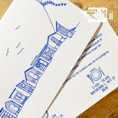 Letterpress trouwkaart strandhuisjes