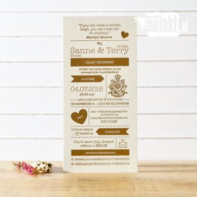 Letterpress trouwkaart Sanne & Terry