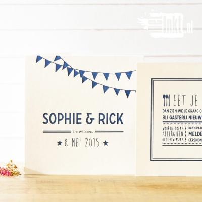 Letterpress trouwkaart met vlaggetjes