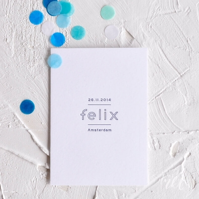 Letterpress geboortekaartje minimalistisch