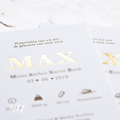 Letterpress geboortekaartje goudfolie Max